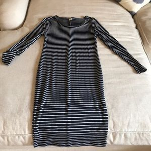 Old Navy mid length striped fitted dress